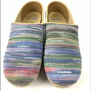 Dansko jute striped clog canvas 37 shoe